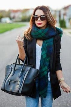 ZARA NAVY BLUE AND GREEN TARTAN SCARF