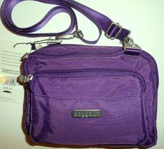 NEW NWT BAGGALLINI Triple Zip CROSS BODY Purple Nylon Belt Bag Organizer Travel  #Baggallini #CrossBody