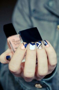 Navy and white and orange graphic manicure nail polish manicure Get Nails, Love Nails, How To Do Nails, Hair And Nails, Gorgeous Nails, Pretty Nails, Amazing Nails, Nail Polish, Nail Time