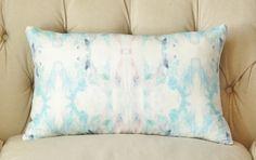 Watercolor Pillow  Pink Aqua Purple Pillow Cover  by MotifPillows