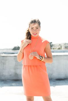 1960's Orange Shift Dress & Key Jewelry Trends
