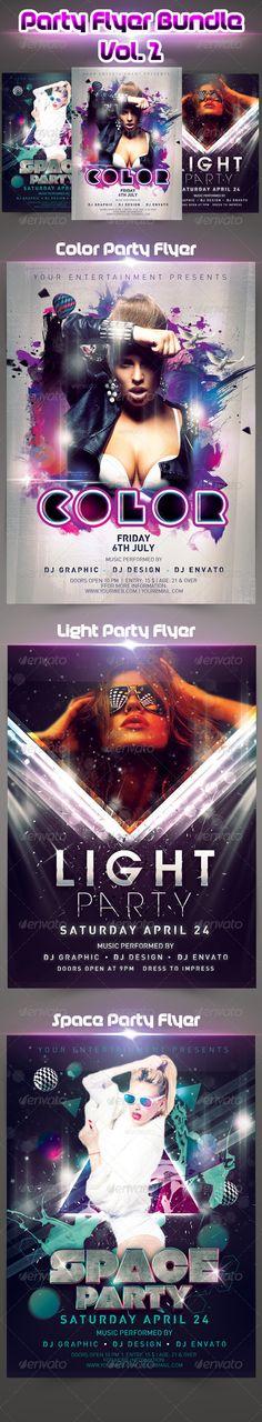 Party Flyer Bundle vol.2 — Photoshop PSD #ink #color • Available here → https://graphicriver.net/item/party-flyer-bundle-vol2/5079333?ref=pxcr