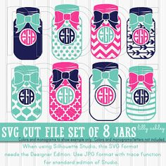 Monogram SVG Files Set of 8 cutting files includes svg/png/jpg formats! Commercial use approved! mason jar svg bow svg {no letters included} Cricut Monogram, Free Monogram, Monogram Shirts, Monogram Decal, Monogram Frame, Monogram Fonts, Cricut Fonts, Vinyl Shirts, Vinyl Crafts