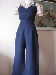1930s / 1940s linen rayon navy blue tie up overalls