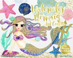 WATERCOLOR MERMAID Clipart Commercial Use Clipart 26 Elements with Gold Confetti Mermaid Shells Starfish Ocean Watercolor Splash Clip Art by ClipArtBrat on Etsy https://www.etsy.com/listing/464626717/watercolor-mermaid-clipart-commercial
