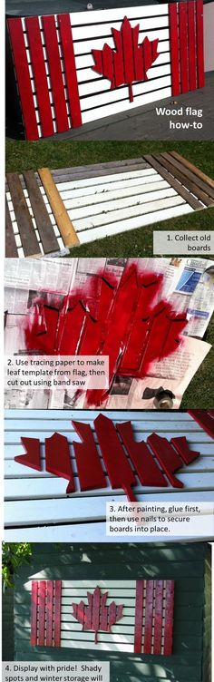 Old wood projects diy how to paint super Ideas Diy Wood Projects, Wood Crafts, Woodworking Projects, Diy And Crafts, Woodworking Logo, Pallet Crafts, Woodworking Plans, Canada Day Party, Canada Day Crafts
