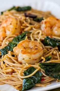 Harissa Spaghettini with Kale & Shrimp