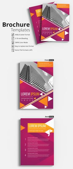 Flyer - Brochure template - with Magenta and Orange Accents - Flyer template | Flyer design layout | Brochure template | Brochure design template | Flyers | Template | Brochures | Flyer Background | Background design