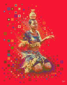 Experimental mosaic illustration of a dancing African girl from Ndere. I keep on experimenting with different patterns, styles, techniques and I am trying to incorporate more cultural influences from the whole black continent. You could check also my other African inspired illustrations.  Best viewed large Attention: Huge file. (9728 x 12288 pixels)   Made with custom developed scripts and techniques in Synthetik Studio Artist, Adobe Photoshop, Adobe Illustrator and Apple QuickTime Pro…