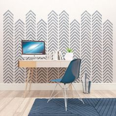 Try our new all-over, reusable Geometric wall art stencil for your next DIY…