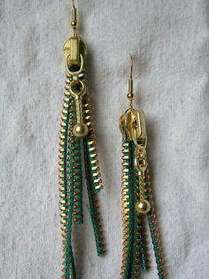 zipper dangle earrings