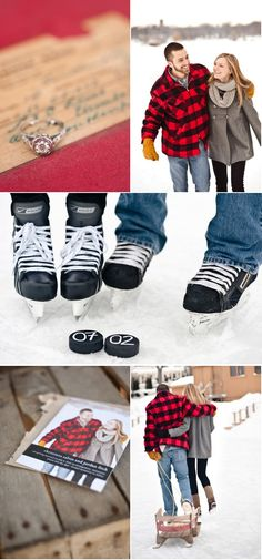 hockey puck save the dates-- if this isn't my save the date ill cry! Hockey Wedding, Our Wedding, Dream Wedding, Wedding Things, Little Black Books, Winter Engagement, Here Comes The Bride, Marry Me, Engagement Pictures