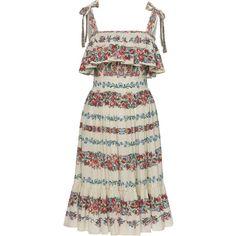 Lena Hoschek Vanda Self Tie Straps Dress (€500) ❤ liked on Polyvore featuring dresses, multi, self tie dress, frill dress, flounce dress, strap dress and flutter-sleeve dress