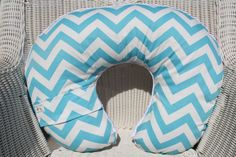 Aqua Chevron and Minky Boppy Cover by DesignsbyChristyS on Etsy, $25.00