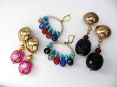 MIX earrings Original Mix 1970  color and di VintageItalianJewel, $35.00