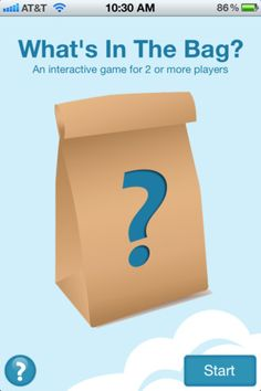 neat little app that let's you pick something to put in your bag (choose from their library of choices), then question marks on the side give kids hints on what kind-of question to ask, or a question word to start their question