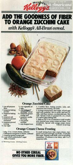 Retro recipe for orange zucchini cake with orange-cream cheese frosting, plus a bonus recipe variation - Click Americana - Orangen Kuchen Retro Recipes, Old Recipes, Vintage Recipes, Cake Recipes, Dessert Recipes, Vintage Food, Vintage Ads, Family Recipes, Retro Food