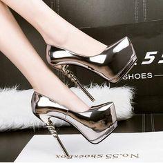 women high heels shoes 2017 gold pumps women party shoes platform pumps silver wedding shoes stiletto heels dress shoes D980 #platformpumpsheels #goldstilettoheels