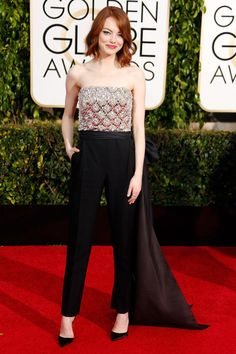 Emma Stone in Lanvin at the 2015 Golden Globes