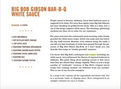 Bob Gibson White Sauce Recipe, White Bbq Sauce, White Sauce Recipes, Gibson Bar, Asian Bbq, Braai Recipes, Grill N Chill, Date Night Dinners