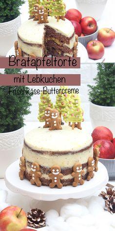 Bratapfel-Lebkuchen-Torte. Sie besteht aus drei Schichten großzügig gewürzten Lebkuchenböden, gefüllt mit kleingeschnitten Äpfel, Sultaninen, die eingekocht sind, überzogen mit einer Frischkäse-Buttercreme. Dekoriert mit selbstgemachten kleinen Tannenbäumen aus Schokolade und niedlichen Lebkuchenmännchen. #bratapfel #bratapfelkuchen #bratapfeltorte #bratapfelrezept #weihnachten #backen #kuchen #torte #sonntagsistkaffeezeit Sweet Bakery, Fabulous Foods, Cupcakes, Amazing Cakes, Sweet Recipes, Tiramisu, Sweets, Easy Peasy, Ethnic Recipes