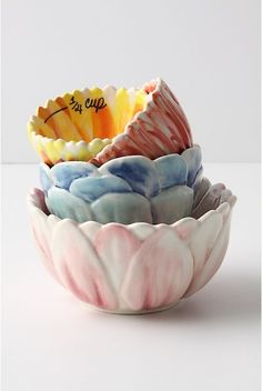 Anthropologie measuring cups... i even eat out of these! lol!