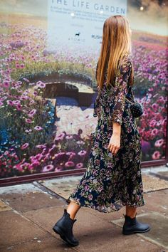 Bring your florals into the new season with darker tones, longer hemlines and sleeves teamed with your favourite booties.