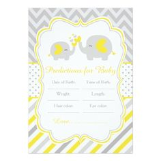 Yellow and Gray Elephant Baby Shower Predictions Card - baby gifts child new born gift idea diy cyo special unique design Baby Shower Cake Pops, Baby Shower Purple, Baby Shower Table, Purple Baby, Baby Shower Parties, Baby Boy Shower, Baby Shower Gifts, Pink, Newborn Baby Gifts