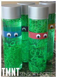 Teenage Mutant Ninja Turtle Sensory Bottle. TMNT Activity for kids. TMNT party idea.