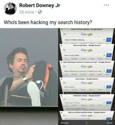 ummm RDJ I think you actually searched for that on . Funny Marvel Memes, Marvel Jokes, Dc Memes, Avengers Memes, Marvel Dc Comics, Marvel Avengers, Robert Downey Jr, Marvel Actors, Downey Junior