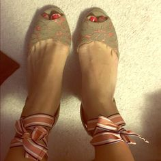 Ann Taylor Loft lace up espadrilles These are the cutest wedge espadrilles! Comes with another set of laces! Tan and Coral. NWOT LOFT Shoes Espadrilles