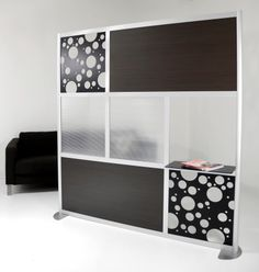 6' Screen with a Shelf, Custom, Translucent & Wood Laminate panels