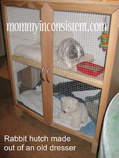 """Homemade rabbit hutch out of an old dresser. simple rabbit hutch.  Seems to me you could get an old dresser (or TV cabinet or even a chest) and with a little work, make one yourself. Pop out the drawers, insert wire, add tin to the roof, add a ramp.  You could lengthen the legs and run chicken wire around the new longer legs for a """"bottom floor"""" pasture area."""