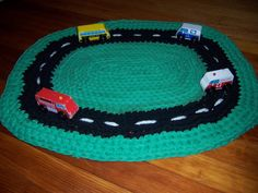 Car Rug  Upcycled Area Rug for Play and Decoration by rebecca452, $34.00