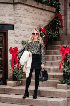 Black & Gold Holiday Outfit   bows & sequins