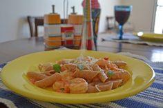 caprese pasta with shrimp (in portuguese)
