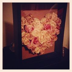 Shadow box + dried roses + some cork = a fun way to save your roses!