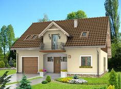 DOM.PL™ - Projekt domu HG-C1A CE - DOM AL1-60 - gotowy projekt domu 2 Storey House, House Elevation, House Extensions, Home Design Plans, Simple House, Home Fashion, Bungalow, Entrance, House Plans