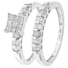 3/4 CT. T.W. Princess, Baguette Cut Diamond Women's Bridal Wedding Ring Set 10K White Gold - Free Gift Box $539.99