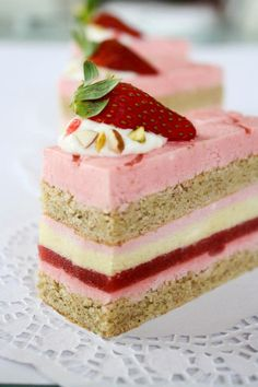 """wwhaatt is this!!?    Strawberry, Pistachio Entremet.    I learned an entremet is """"a dish that is served with, but is subordinate to, a main course."""" This does not look subordinate."""