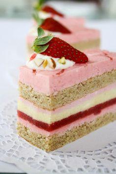 Strawberry, Pistachio Entremet  #maincourse #recipe #dinner #recipes #lunch