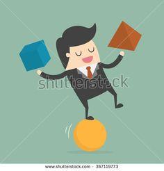 Businessman Balancing On the Ball. Business Concept Cartoon Illustration. - stock vector