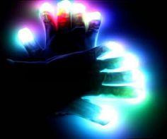 Black Light Up Gloving Gloves