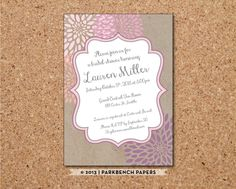 Editable Bridal Shower Invitation - Kraft Paper and Flowers- DIY Word Template Instant Download Printable