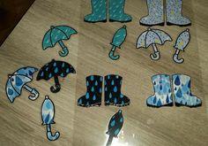Sorteerspel. Leg juiste paraplu bij laarsjes Toddler Activities, Autumn Leaves, Preschool, Kids Rugs, Winter, Crafts, Halloween, Hand Art, Rain