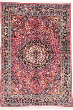 """MAKE AN OFFER Hand-knotted Mashad Dark Pink, Red Wool Rug 6'7"""" x 9'5""""  $697   http://www.ecarpetgallery.com/area-rugs/hand-knotted/iran/mashad/item-202740"""