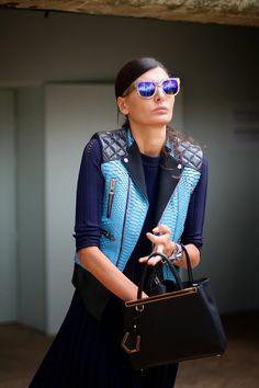 Giovanna Battaglia and her Fendi Mini 2jours handbag.  (September 2013)