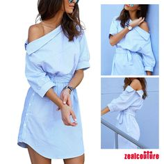 Streetwear, Shops, Belted Shirt Dress, Nightwear, Shirt Style, Party, Personal Style, Cold Shoulder Dress, Stripes