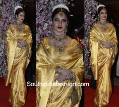 rekha kanjeevaram saree neil nitin wedding reception 600x538 photo