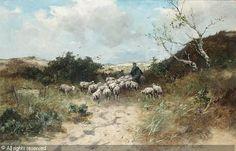 SCHERREWITZ Johan Frederik Cornelis - Shepherd and sheep on a country path